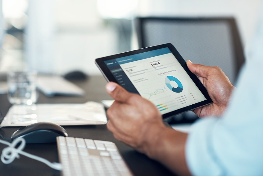 iPad showing financial data